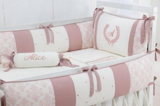 Kit berço menina personalizado tema princesa rosa e branco