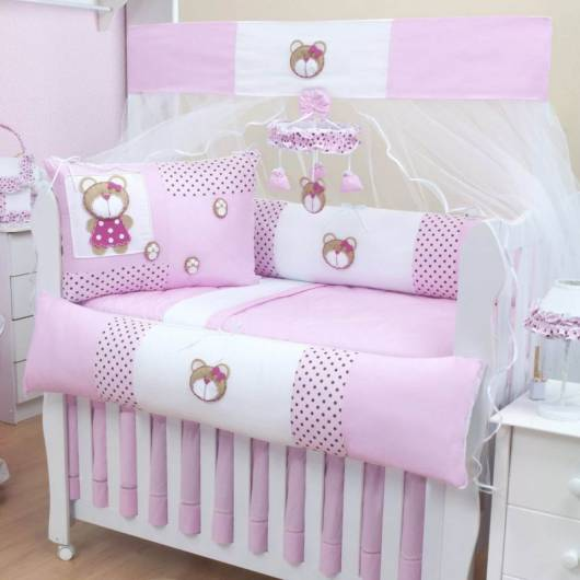 Kit berço menina tema ursinha rosa e branco