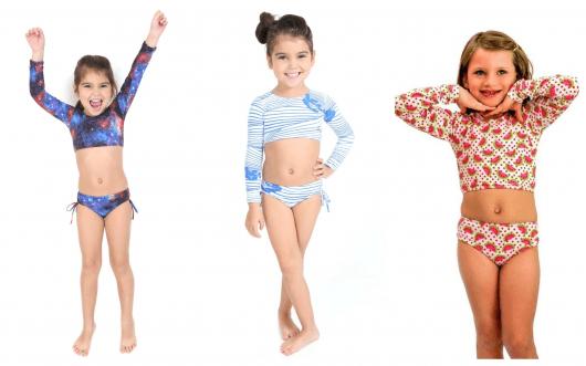 Os modelos de biquíni cropped estão super em alta entre as crianças