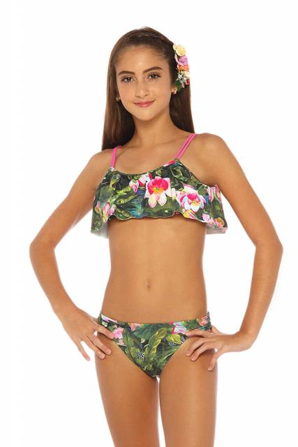 Outro modelo com babado e estampa floral