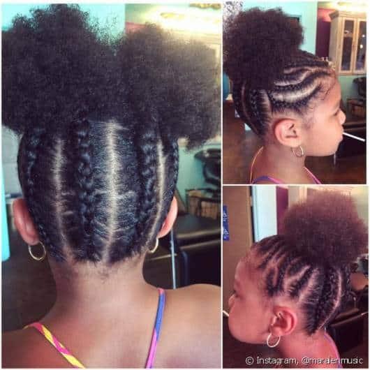 Três penteados com trança em meninas com cabelo afro