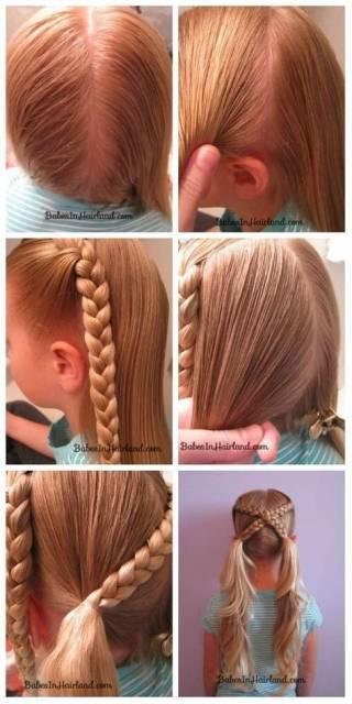 Penteado diferente com trança para meninas