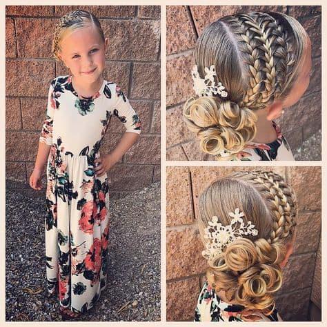 Penteado infantil com trança típico para festas