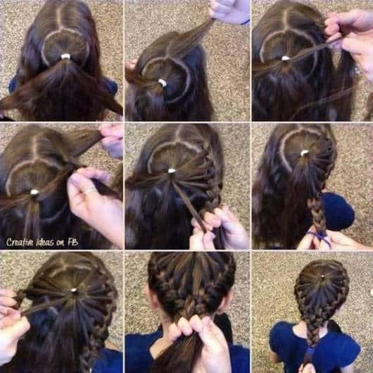 Penteado bem simples de fazer com duas tranças