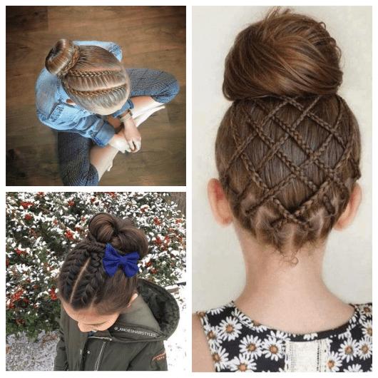 Penteados com tranças e coques para meninas