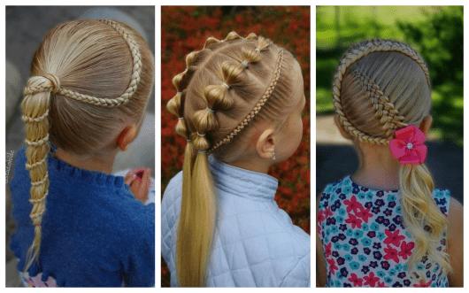 Dicas de penteados infantis com trança e rabo de cavalo
