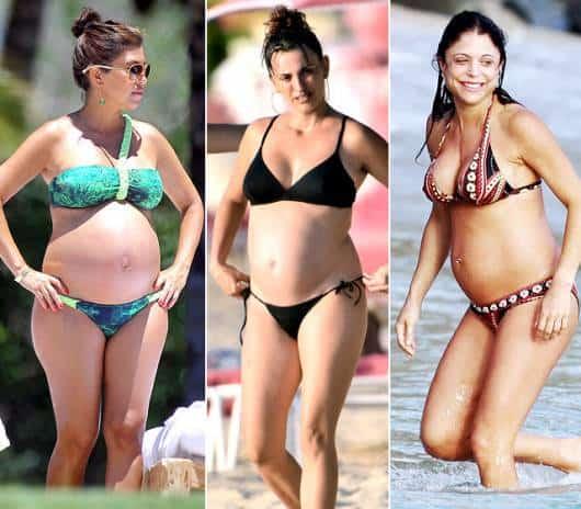 Três modelos de biquíni para grávidas, entre estampados e lisos