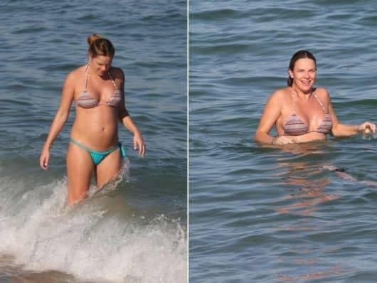 A atriz Letícia Birkheuer usou biquíni simples multicores na gravidez
