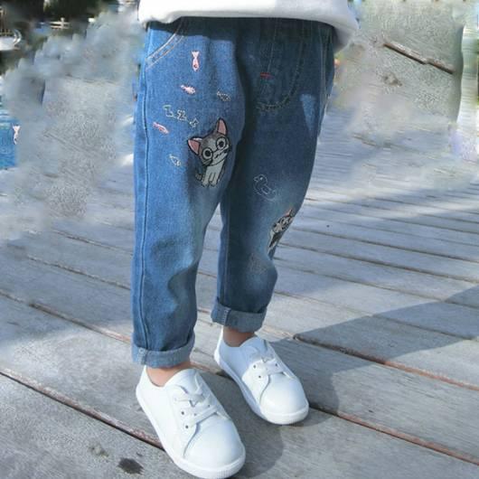 Calça jeans infantil feminina divertida