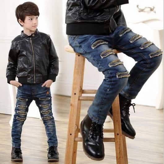Calça jeans infantil masculina estilosa