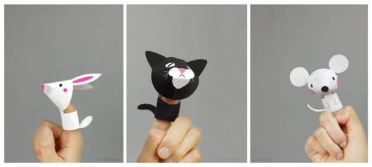 Dedoches de papel gatinho