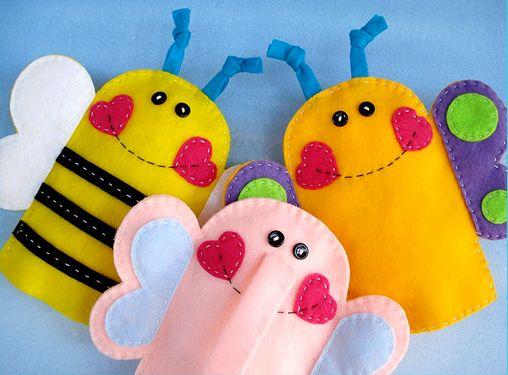 Dedoches de feltro abelhinha
