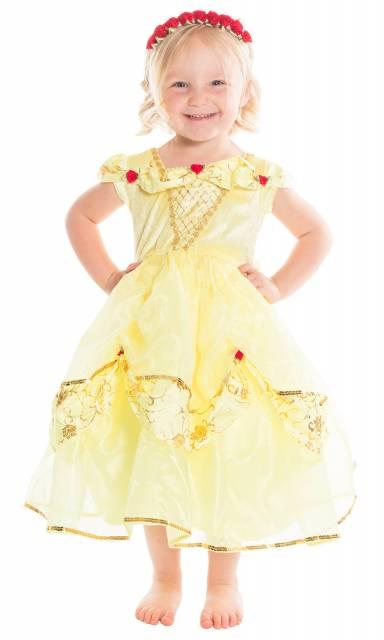 Fantasia da Bela com amarelo bebê e apliques de flores vermelhas