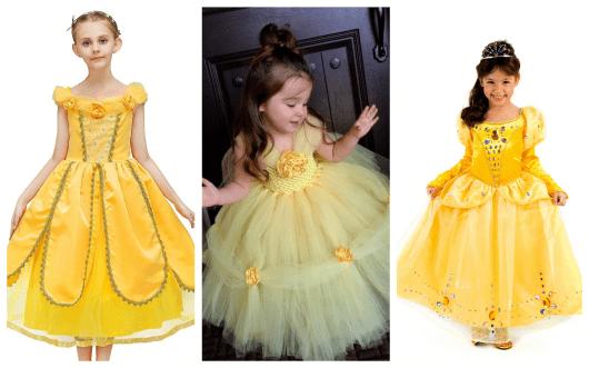Existem fantasias da bela em diferentes tons de amarelo