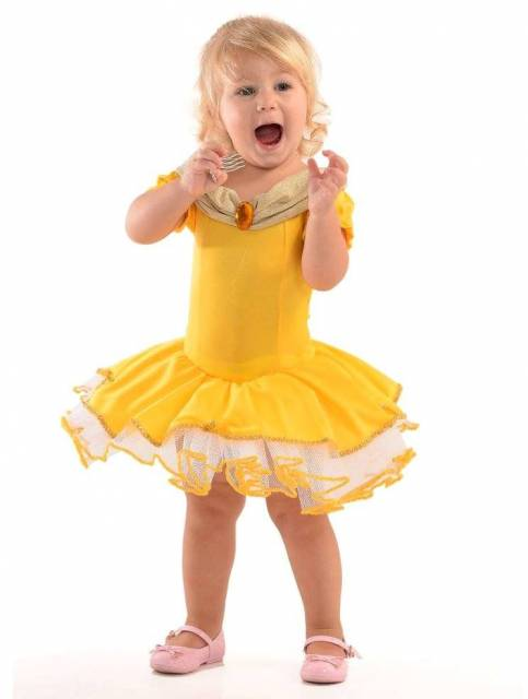 Vestido da princesa Bela para bebê com saia rodada