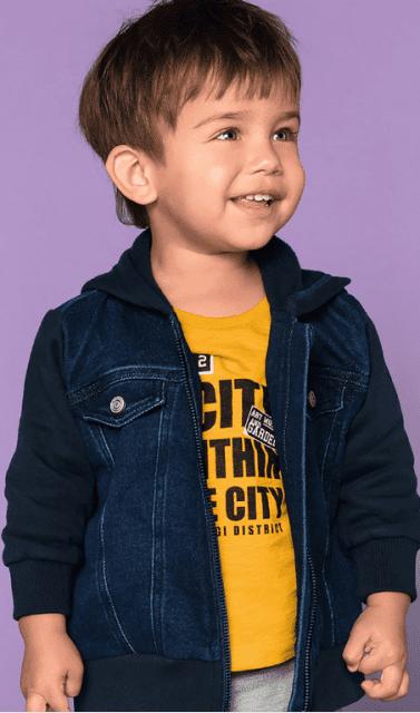 Jaqueta Jeans Baby Masculina com mangas de moletom - Hering Kids