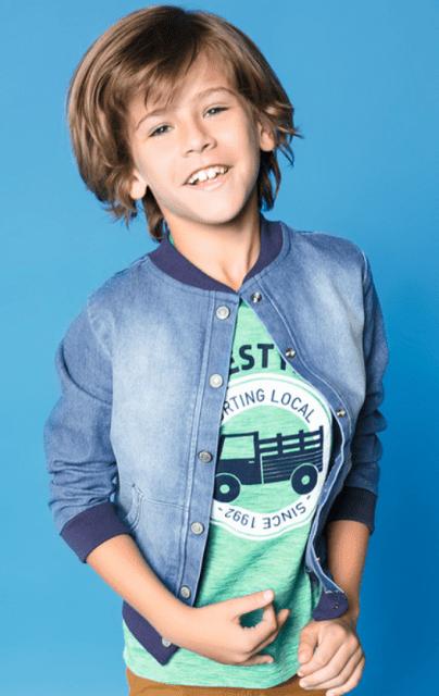 Jaqueta jeans simples com bolsos frontais para meninos