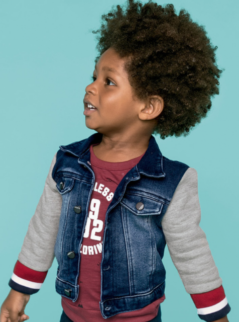 Jaqueta Jeans Infantil Masculina com mangas de moletom - Hering Kids