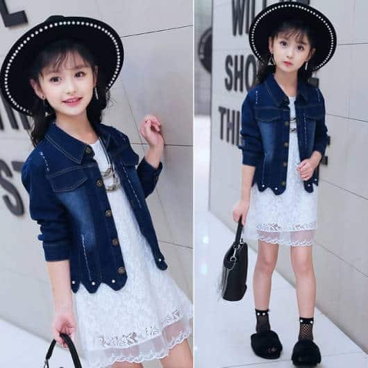 Jaqueta jeans delicada para meninas