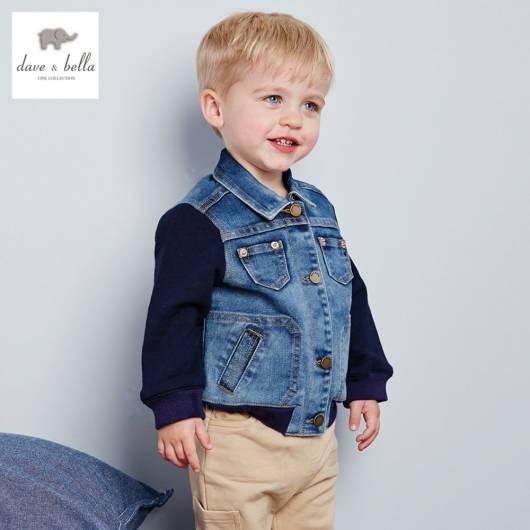 Jaqueta jeans baby com mangas de moletom azul escuro