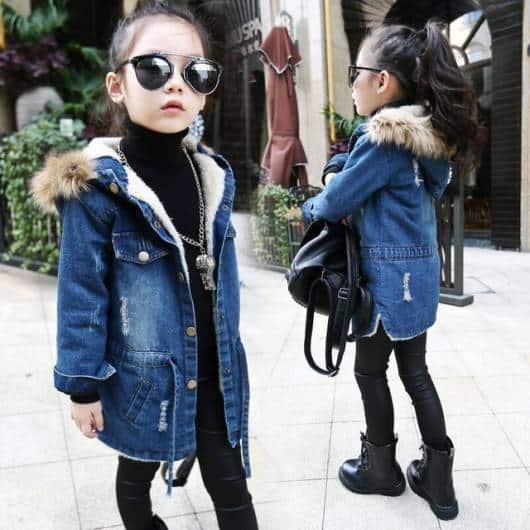 Modelo de jaqueta infantil jeans perfeita para o inverno