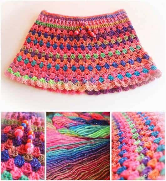Ideia de saia colorida de crochê para saída de praia