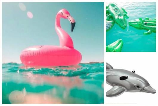 Boias infláveis no formato de jacaré, golfinho e flamingo.