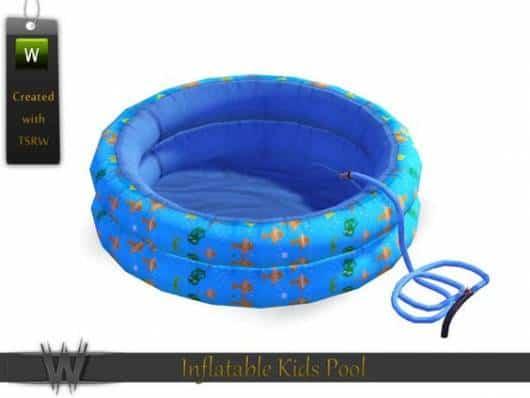 Piscina inflável azul.