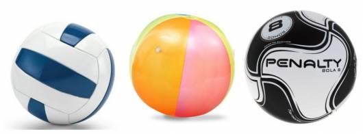 Três tipos de bola.