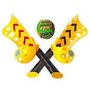 Brinquedo amarelo e preto para lançar bolinha.
