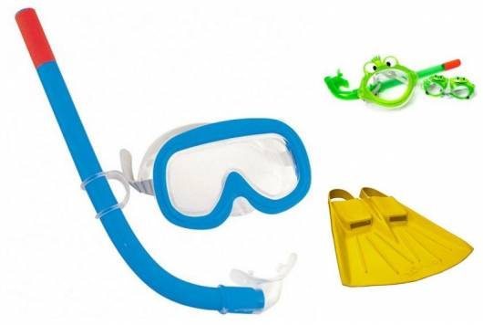 Montagem com máscaras, pé de pato e snorkel.