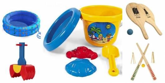 Montagem com cinco tipos de brinquedos de praia.
