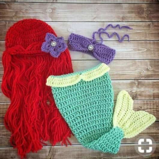 Fantasia Ariel de crochê.