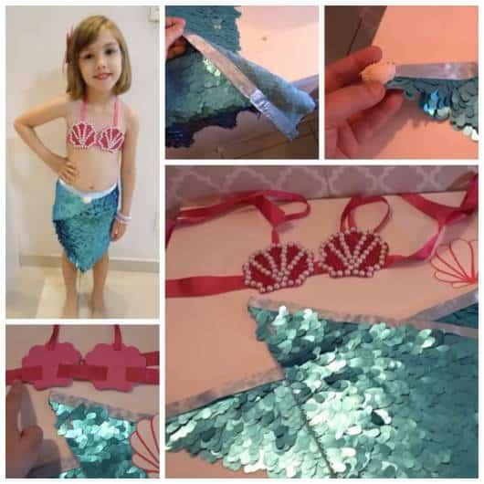 Montagem ensinando a fazer fantasia Ariel sem costura.