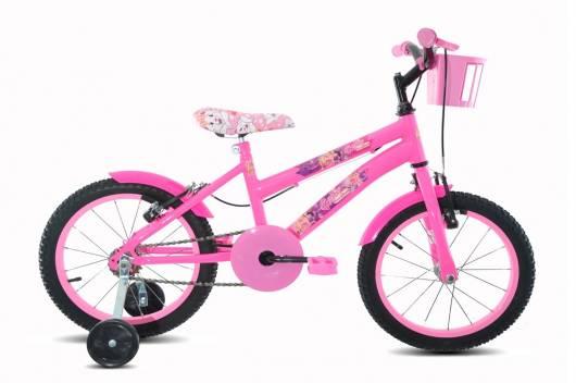 Bicicleta com rodinhas rosa