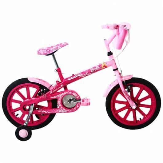 Bicicleta rosa com detalhe pink nas rodas