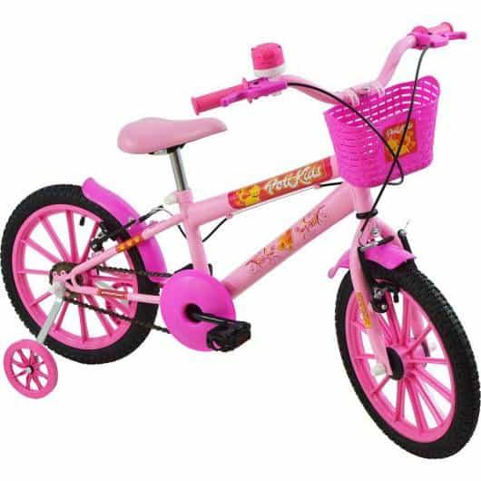 Bicicleta com rodinhas e cestinha pink
