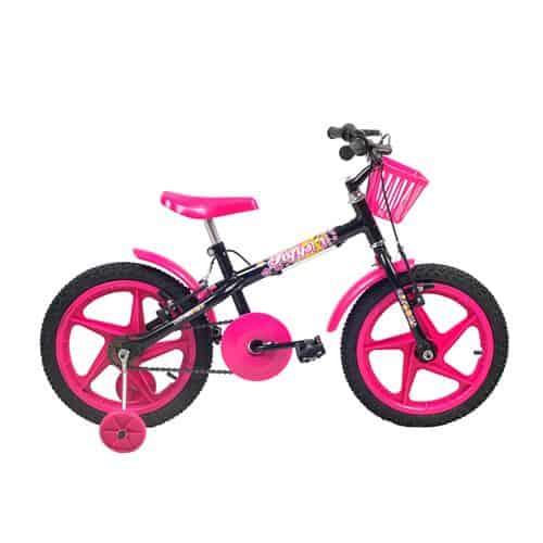 Bike pink e preta para crianças