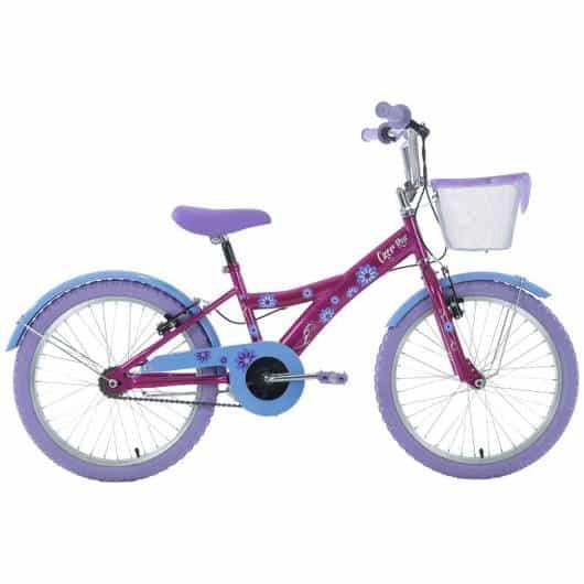 Bike lilás e roxa com cestinha sem as rodinhas