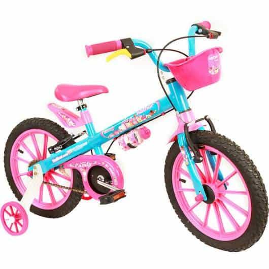 Bicicleta infantil feminina azul e rosa