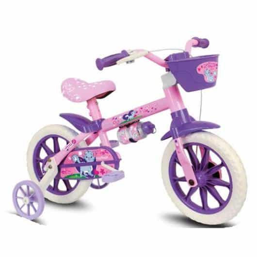 Bicicleta infantil feminina roxa e rosa