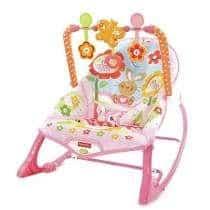 Cadeirinha de descanso rosa com móbile de flores
