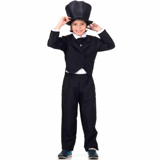Fantasia de mágico infantil toda preta