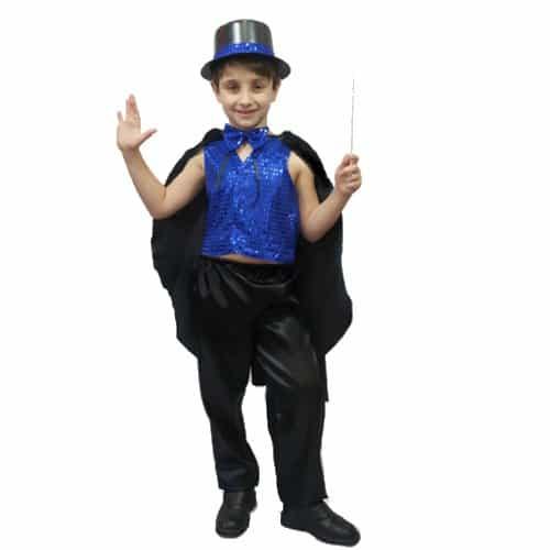 Modelo de fantasia de mágico com colete azul