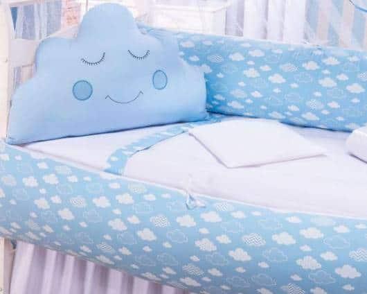 Kit berço nuvem com a cor azul estampado