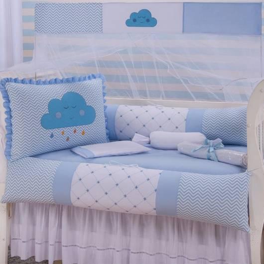 Kit berço nuvem com as cores azul e branca