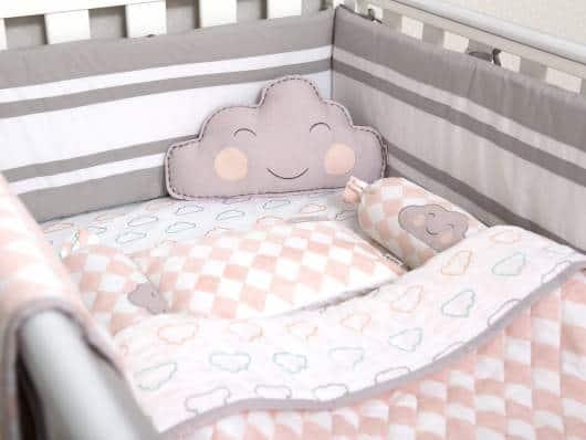 Kit berço nuvem cinza e rosa