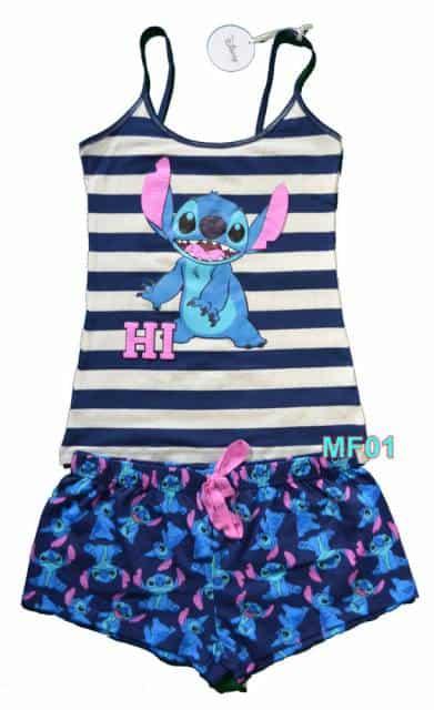 Modelo de pijama Stitch de verão com blusa de alcinha