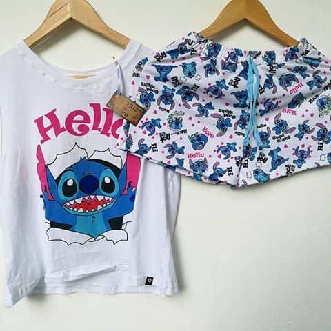 Pijama para verão com estampa do Stitch