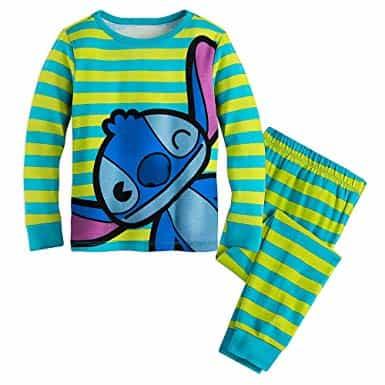 Veja que pijama lindo listrado do Stitch para meninos e meninas